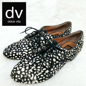 Dolce Vita Spotted Calf Hair Lace Up Oxfords